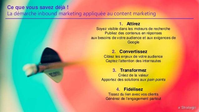 Ce que vous savez déjà ! La démarche inbound marketing appliquée au content marketing 1. Attirez Soyez visible dans les mo...