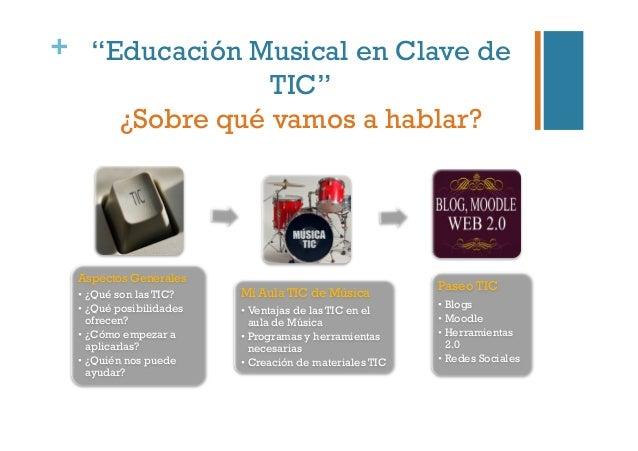 """+ """"Educación Musical en Clave de TIC"""" ¿Sobre qué vamos a hablar? Aspectos Generales •¿Qué son las TIC? •¿Qué posibilidad..."""