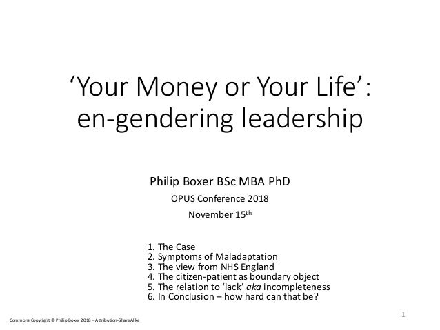 'Your Money or Your Life': en-gendering leadership Philip Boxer BSc MBA PhD OPUS Conference 2018 November 15th 1. The Case...