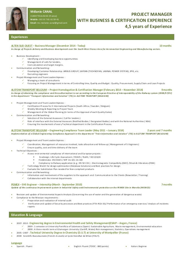 Project Management Resume | Melanie Canal Project Manager Resume