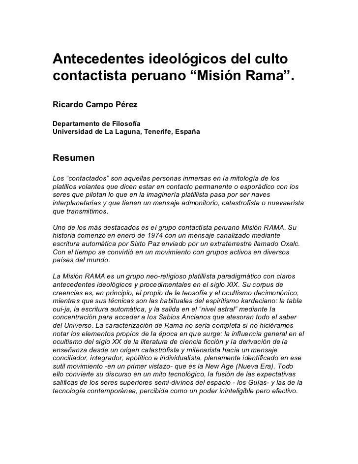 """Antecedentes ideológicos del cultocontactista peruano """"Misión Rama"""".Ricardo Campo PérezDepartamento de FilosofíaUniversida..."""