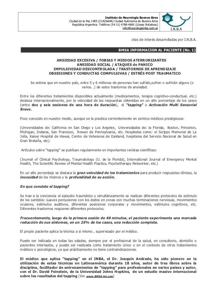 Instituto de Neurología Buenos Aires                               Ciudad de la Paz 1485 (C1426AHA) Ciudad Autónoma de Bue...
