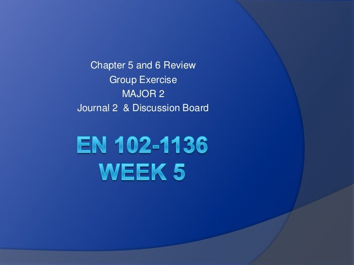 Chapter 5 and 6 Review       Group Exercise          MAJOR 2Journal 2 & Discussion Board