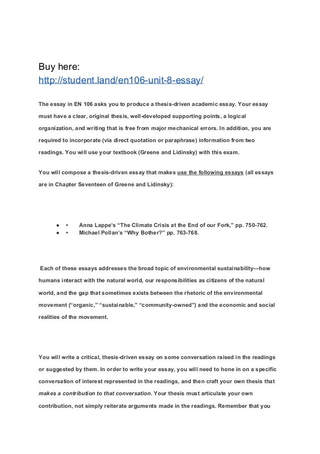 thesis driven essay