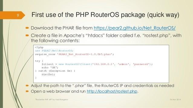 The better PHP API (EN)