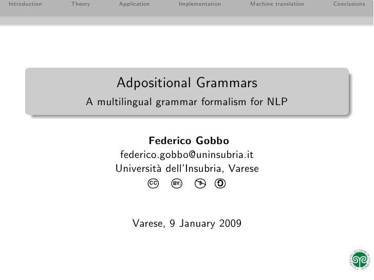 Adpositional Grammars