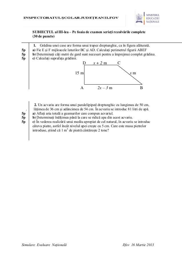 en2013 s i m u l a r e evaluarea nationala la matematica ilfov