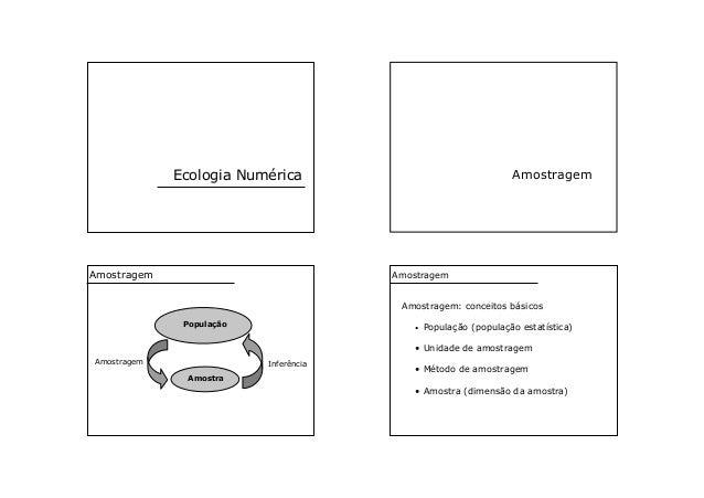 Ecologia Numérica Amostragem População Amostra Amostragem Inferência Amostragem Amostragem: conceitos básicos • População ...