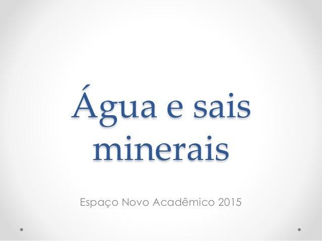Água e sais minerais Espaço Novo Acadêmico 2015