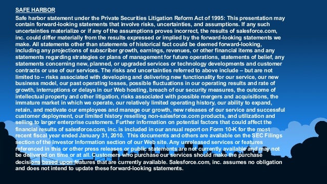 1	  SAFE HARBORSafe harbor statement under the Private Securities Litigation Reform Act of 1995: This presentation maycont...
