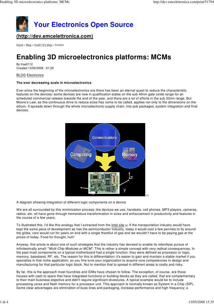 Enabling 3D microelectronics platforms: MCMs                                                               http://dev.emce...