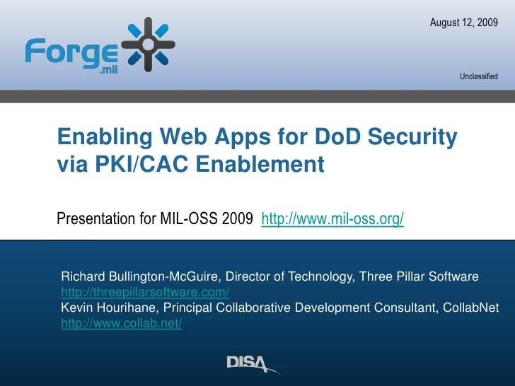 Enabling Web Apps For Dod Security Via Pkicac Enablement Forge