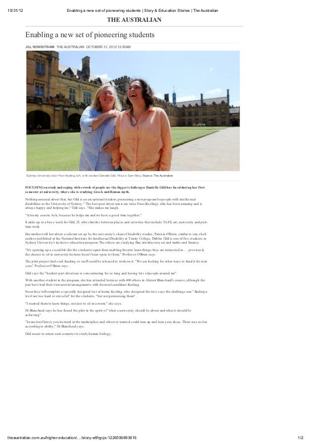 10/31/12                                  Enabling a new set of pioneering students   Story & Education Stories   The Aust...