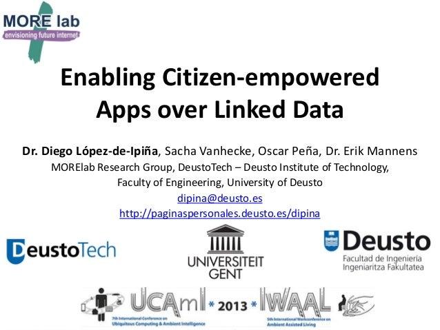 Enabling Citizen-empowered Apps over Linked Data Dr. Diego López-de-Ipiña, Sacha Vanhecke, Oscar Peña, Dr. Erik Mannens MO...