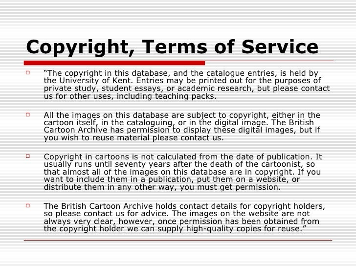 """Copyright, Terms of Service   """"The copyright in this database, and the catalogue entries, is held by    the University of..."""