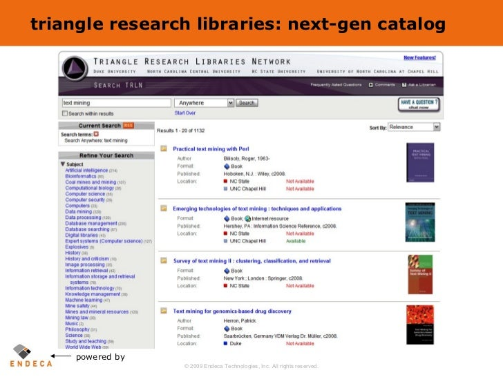 triangle research libraries: next-gen catalog powered by