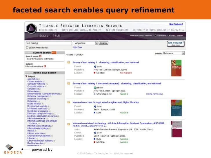 faceted search enables query refinement powered by