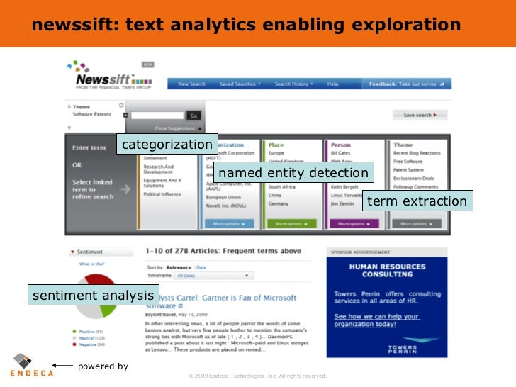 newssift: text analytics enabling exploration powered by categorization named entity detection term extraction sentiment a...