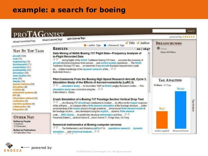 example: a search for boeing powered by