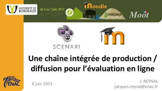 Une chaîne intégrée de production /diffusion pour l'évaluation en ligne6 juin 2013J. REYNALjacques.reynal@enac.fr
