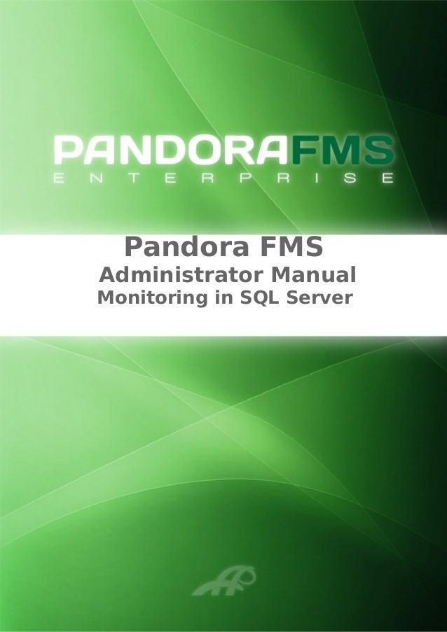 Pandora FMS Administrator Manual Monitoring in SQL Server