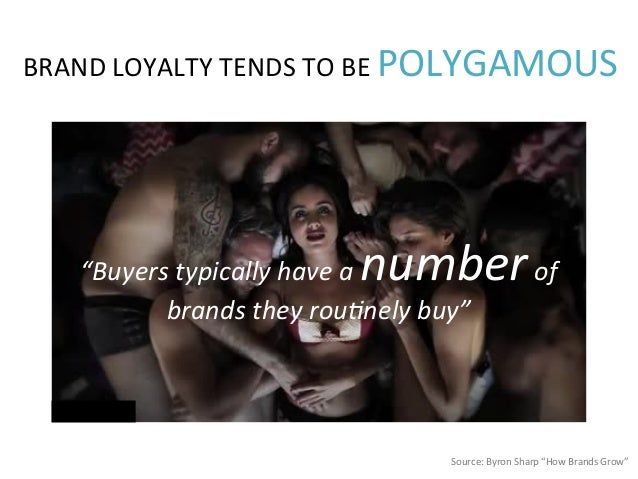 """Source:  Byron  Sharp  """"How  Brands  Grow""""   BRAND  LOYALTY  TENDS  TO  BE  POLYGAMOUS   """"Buyers ..."""