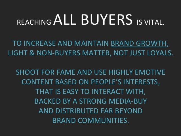 REACHING  ALL  BUYERS  IS  VITAL.        TO  INCREASE  AND  MAINTAIN  BRAND  GROWTH,   LIGHT  ...