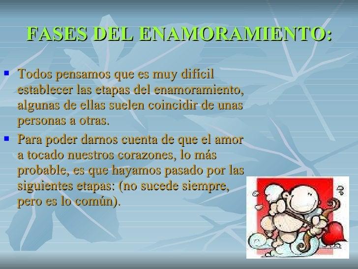FASES DEL ENAMORAMIENTO: <ul><li>Todos pensamos que es muy difícil establecer las etapas del enamoramiento, algunas de ell...