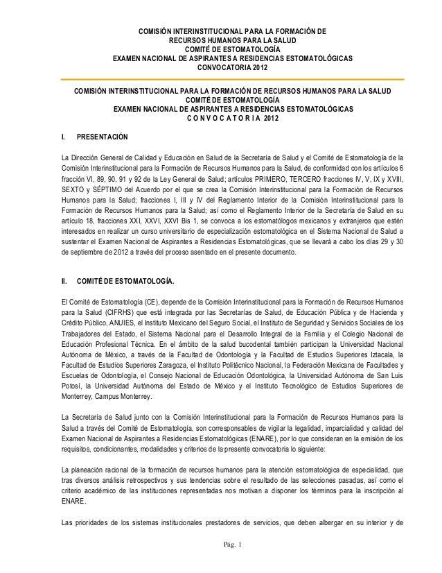 COMISIÓN INTERINSTITUCIONAL PARA LA FORMACIÓN DERECURSOS HUMANOS PARA LA SALUDCOMITÉ DE ESTOMATOLOGÍAEXAMEN NACIONAL DE AS...