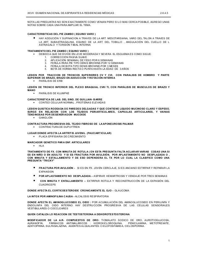 XXVII EXAMEN NACIONAL DE ASPIRANTES A RESIDENCIAS MÉDICAS                               2.6.4.5NOTA LAS PREGUNTAS NO SON E...