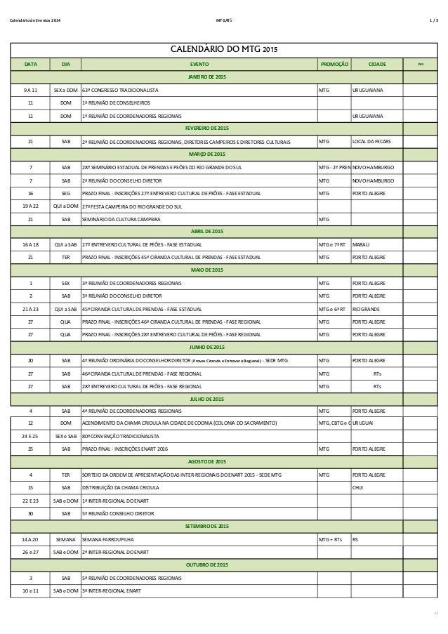 Calendário de Eventos 2014 MTG/ RS 1 /  3  CALENDÁRIO DO MTG 2015   PR°M°Çð   JANEIRO DE 2015  SEX a DOM 639 CONGRESSO TR...