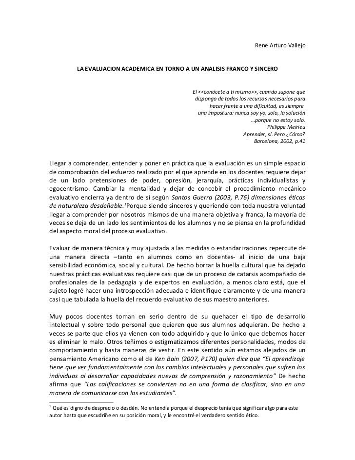 Rene Arturo Vallejo           LA EVALUACION ACADEMICA EN TORNO A UN ANALISIS FRANCO Y SINCERO                             ...