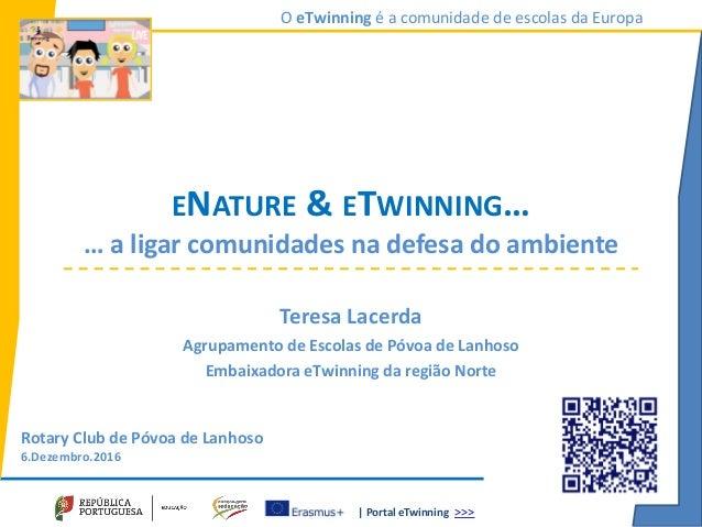 | Portal eTwinning >>> O eTwinning é a comunidade de escolas da Europa ENATURE & ETWINNING… … a ligar comunidades na defes...