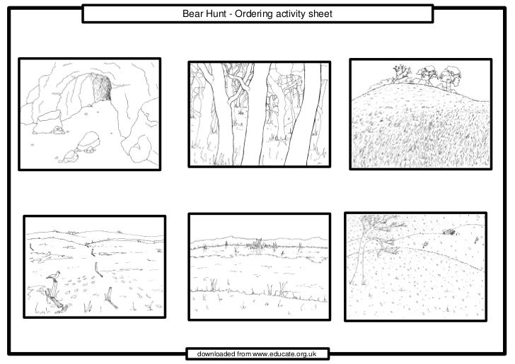 Bear Hunt - Ordering activity sheet   downloaded from www.educate.org.uk