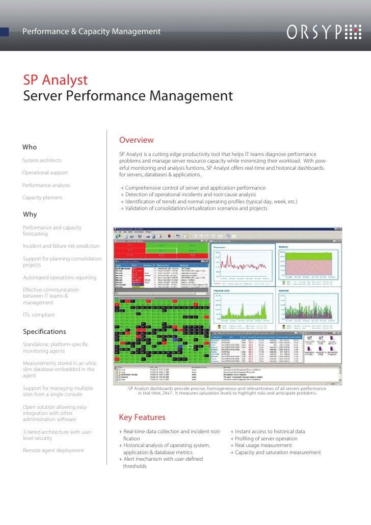 Performance & Capacity ManagementSP AnalystServer Performance Management                                       OverviewWho...