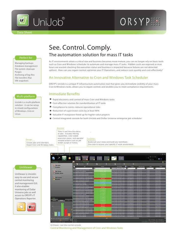 UniJob                                                    R  Data Sheet                                    See. Control. C...