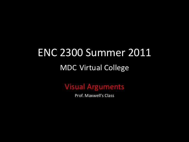 ENC 2300 Summer 2011MDCVirtual College<br />Visual Arguments <br />Prof. Maxwell's Class<br />