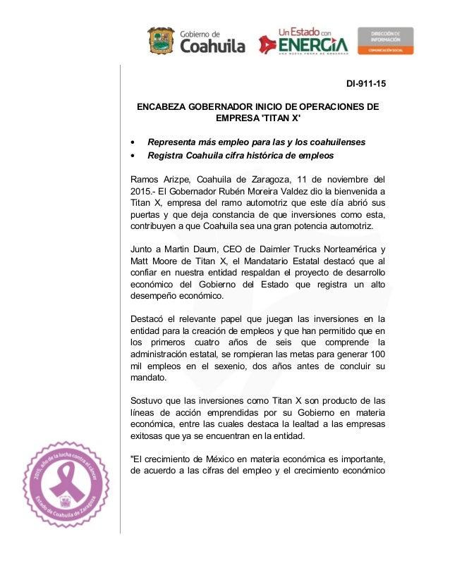 DI-911-15 ENCABEZA GOBERNADOR INICIO DE OPERACIONES DE EMPRESA 'TITAN X' • Representa más empleo para las y los coahuilens...