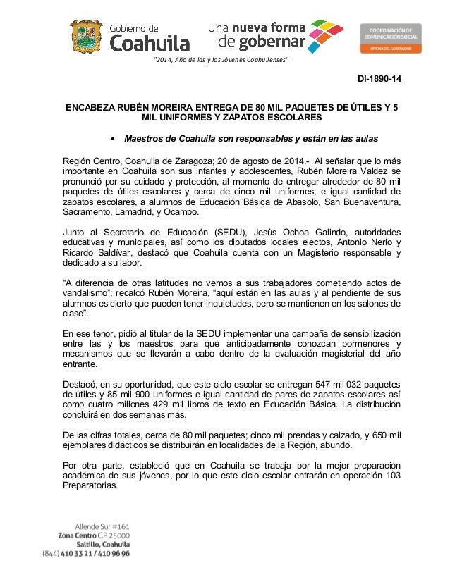 """""""2014, Año de las y los Jóvenes Coahuilenses"""" DI-1890-14 ENCABEZA RUBÉN MOREIRA ENTREGA DE 80 MIL PAQUETES DE ÚTILES Y 5 M..."""
