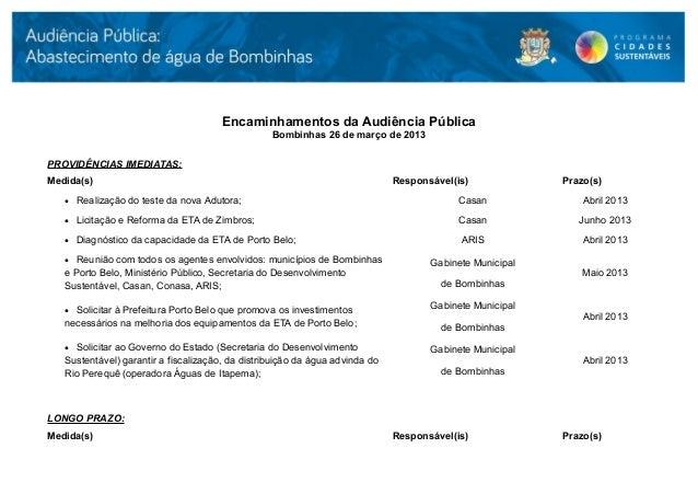 Encaminhamentos da Audiência Pública                                                  Bombinhas 26 de março de 2013PROVIDÊ...