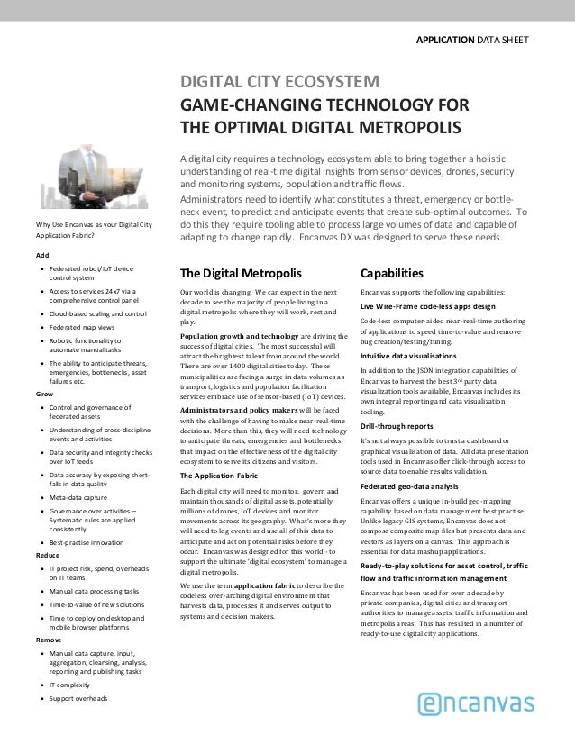 APPLICATION DATA SHEET DIGITAL CITY ECOSYSTEM GAME­CHANGING TECHNOLOGY FOR THE OPTIMAL DIGITAL METROPOLIS A digital city r...