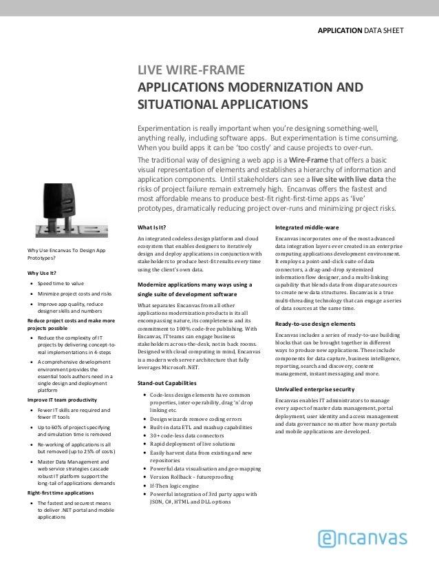 APPLICATIONDATASHEET LIVEWIRE‐FRAME APPLICATIONSMODERNIZATIONAND SITUATIONALAPPLICATIONS Experimentationisreally...