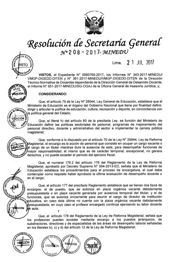 RESOLUCIÓN DE SECRETARIA GENERAL N° 208-2017-MINEDU
