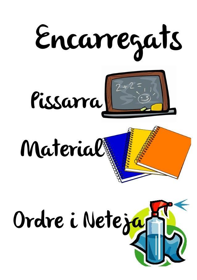Encarregats Pissarra Material Ordre i Neteja