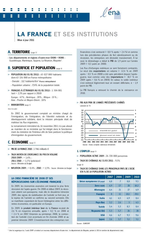 L A FrANcE Et sEs iNstitutioNs                Mise à jour 2011a. TERRITOIRE (page 3)                                      ...