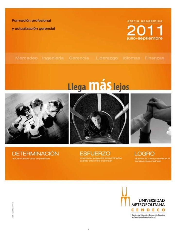 Diplomados, programas y cursos de Cendeco (jul-sep 2011)
