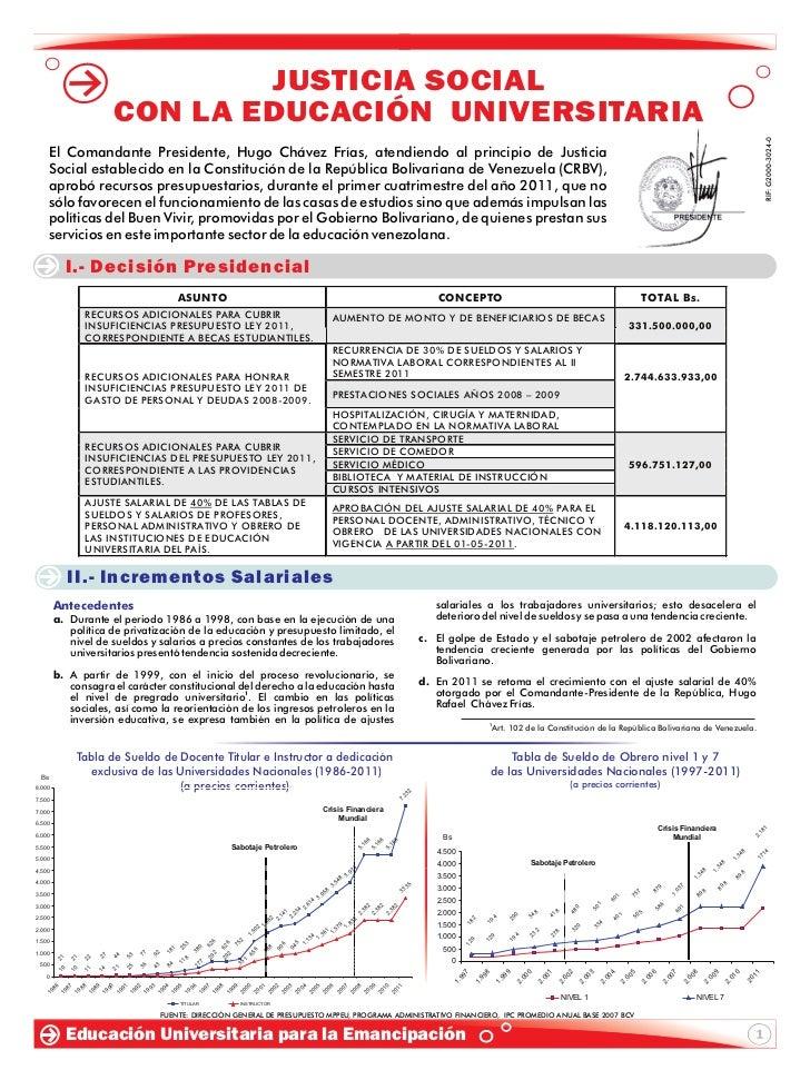 JUSTICIA SOCIAL                                   CON LA EDUCACIÓN UNIVERSITARIA                                          ...