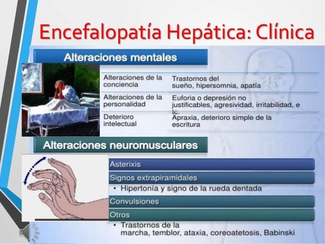 Encefalopatía Hepática: Clínica El cuadro clínico incluye tres elementos: • Alteraciones neuropsiquiátricas • Asterixis: t...