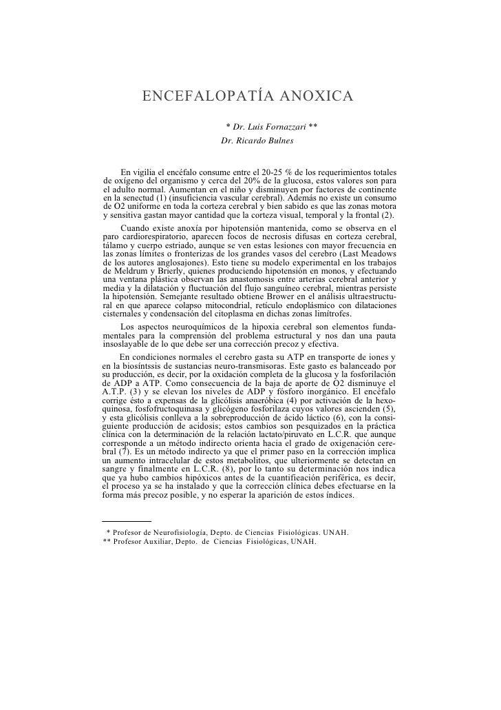 ENCEFALOPATÍA ANOXICA                                    * Dr. Luis Fornazzari **                                  Dr. Ric...