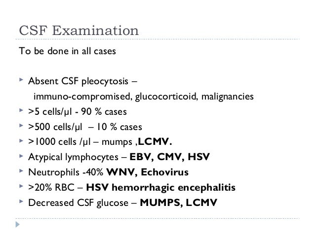 CSF Examination To be done in all cases  Absent CSF pleocytosis – immuno-compromised, glucocorticoid, malignancies  >5 c...